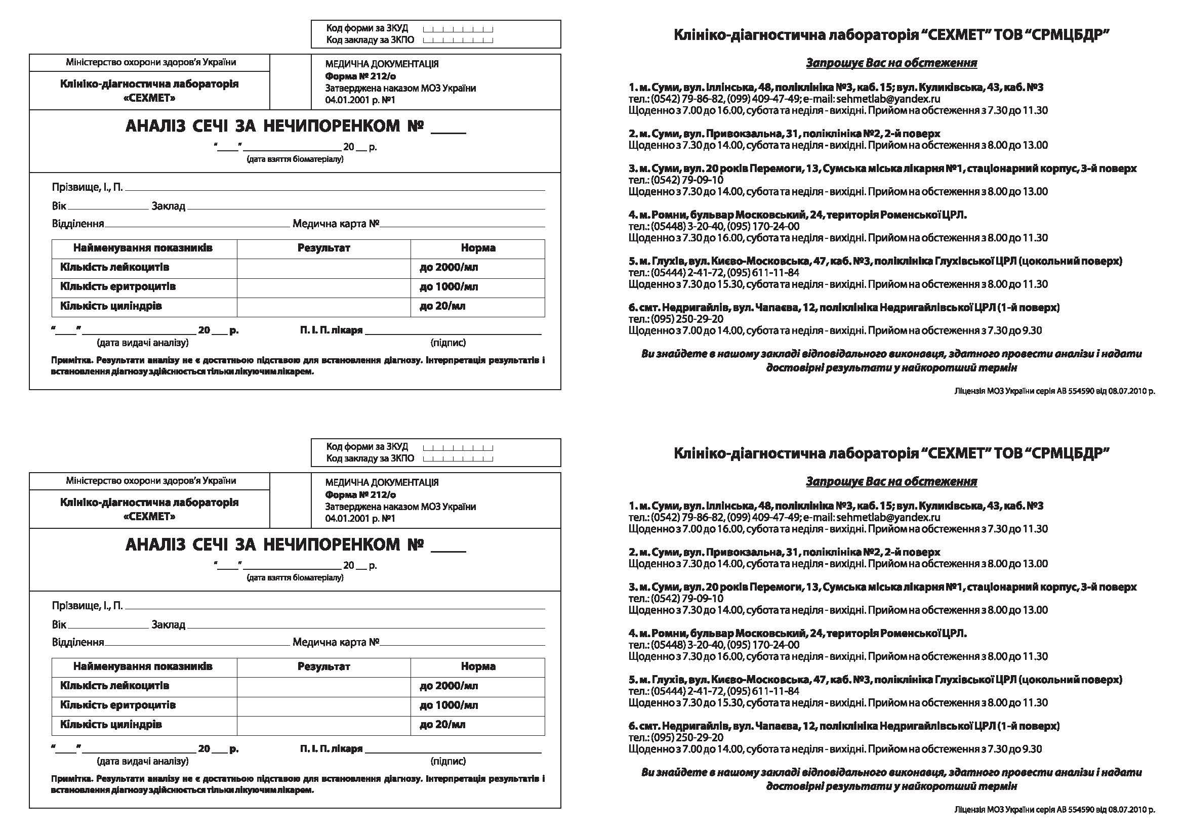 Анализ мочи по Нечипоренко - Анализы мочи - Анализы